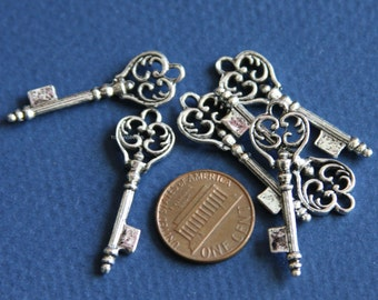 6 pcs of Silver Plated  key charm 36x11mm