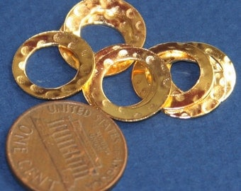 30 pcs of Gold  plated over Brass hammered circle link 13mm