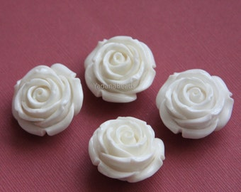 6 pcs of  Acrylic flower bead 29mm-  White color