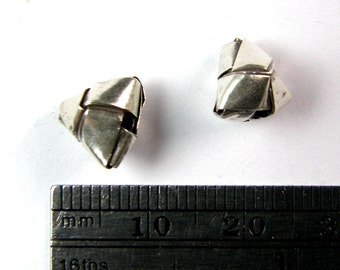 4 Origami Beads 10mm  - Hill Tribe .995 Silver