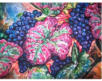 READY To HARVEST - 11x15 original painting botanical watercolor OOAK, Blue Grapes, Wine Grapes, Grapes, Grape Leaves, Plant , Fruit, Vine