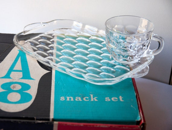 Federal glass company snack set yorktown clear pieces