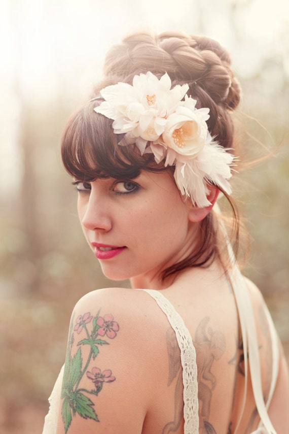 Bridal hair floral fascinator, Ivory and blush, bridal hair band, wedding heapiece - GLORIA