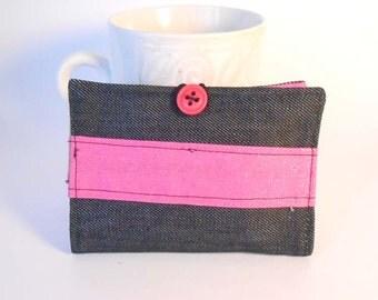 Tea Wallet, Tea Bag Holder, Business Card Holder - Dark Denim and Hot Pink - READY MADE