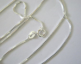 """20"""" sterling silver box chain 1 mm"""