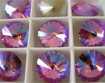 4 Rose Peach Glacier Blue Foiled Swarovski Beads Rivoli Stone 1122 12mm