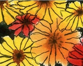 """ACEO print of original abstract watercolor """"Feisty Floral"""" in fun, warm colors."""