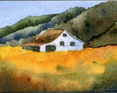 aceo print of original watercolor painting Hay Field.