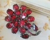 Vintage Red Rhinestone Pot Metal Flower Brooch for Reuse