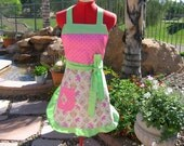 SALE - Bird Apron - Ruffle Apron - Quirky - Kitschy - Retro Apron - Womens - Perched Chicks