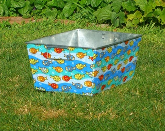 Galvanized Bin Rectangular Storage Tub Little Fishies