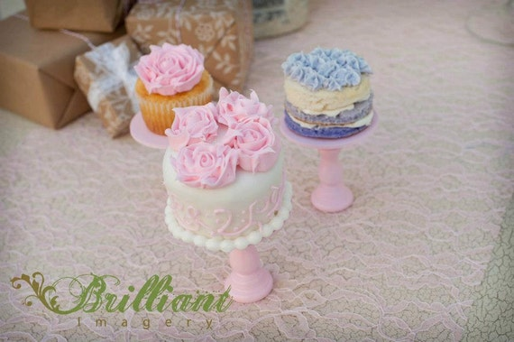 Shabby light  Pink Chic  mini wooden  individual cupcake or cake pop stand so sweet ECS