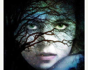 October Moon, House Home Office Decor, Wall Art,  Woman Portrait, Fine Art Print,  Surreal Art, Ethereal Art,  Photomontage