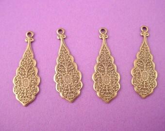 4 brass ox art nouveau scalloped edge floral charms 28mm