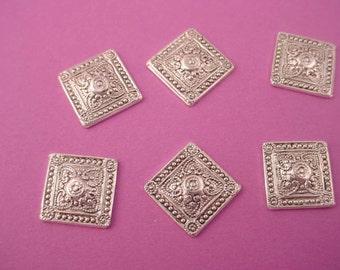 6 silver ox heraldic square diamond shape no loops 16mm