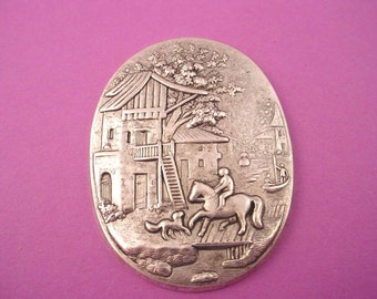 1 silver ox medieval village scene house horse tree 48x31