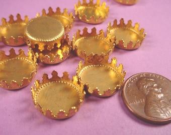 12 Brass Round Crown Edge Bezel Cups 13mm