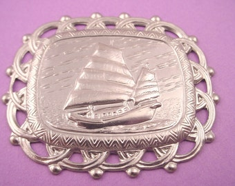 Silver Tone Chinese Junk Boat Medallion Rectangle Stampings - 2 pieces