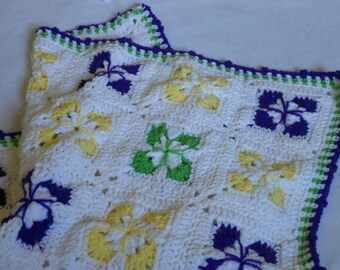 Sale - Baby Blanket, Baby Boy Girl Bright Colorful Green Purple Yellow White Afghan