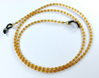 Toho Glass Seed Beads Topaz Eyeglass Holder, Chains