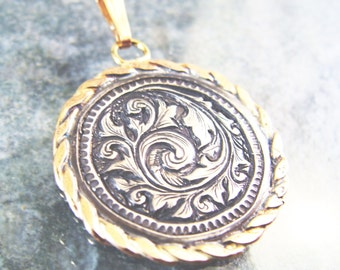 Hand Engraved Sterling Silver Scrollwork Pendant with Gold Filled Border