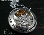 You are my sunshine locket necklace - Hand stamped - Personalized gift - sterling silver chain - gift for mom, grandmom, nana