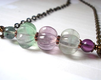 Natural fluorite necklace, flower stone brass choker, gemstone bar, romantic Bohemian necklace, purple, lavender, violet, aqua, green, blue