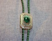 002 Bolo Slide with  Varigated  Green Stone Capochon Green black  Suede Leather Braided Cord No.002