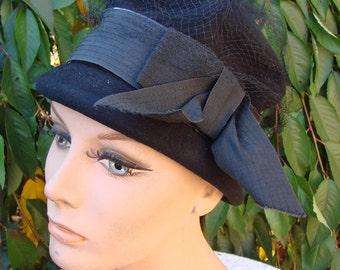 Ladies Stylish Vintage Black Wool Felt Hat