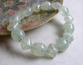 Prehnite Beads- Oval and Puffed Square Prehnite Gemstone Beads For Jewelry Making and Beaded Jewelry