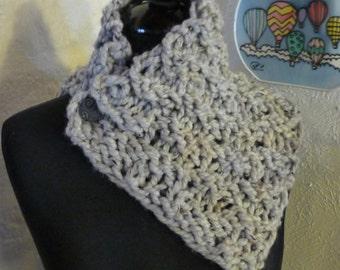 Knitted Cowl Scarflette Dusty Grey