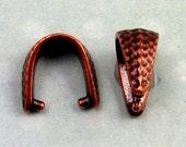 Hammertone Pinch Bail, Antique Copper TierraCast 2 Pc. TC38