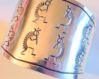 Vintage Navajo Hopi Bracelet - Solid Sterling Silver - Signed Wide Cuff  - TALL- 6 - 6.25 - Handmade Kokopelli Engraved Piper Cuff bANGLE