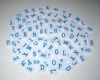 Blue and White Plastic Alphabet Letter Tiles From Hangman Set of 112