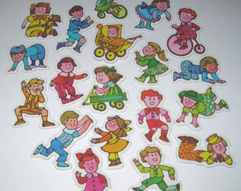 Vintage 1980s Game Pieces from The Old Shoe with Cute Children Set of 19