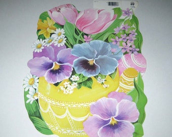 Vintage Die Cut Cardboard Easter Decoration with Pansies Tulips Flowers Easter Eggs by Eureka