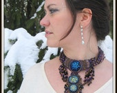 HOLD for Cole - CLEARANCE - Bead Embroidery Purple Bronze and Black Beaded Northern Lights Necklace by Hannah Rosner