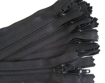 7 Inch Black YKK Zippers - Set of 24 pcs - Color number 580