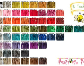 8 inch YKK  Zippers - Set of 50 pcs - Choose your own color combination