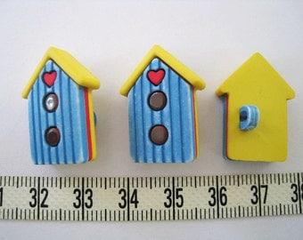 Blue Beach House Button - 10 pcs