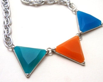 Orange Teal and Blue Triangle Necklace - Aqua and tangerine pennant bunting bright silver necklace - Geometric