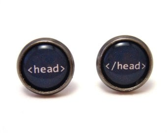 Head tag HTML Studs - Web designer black and white text head tag post earrings - SMALL 10mm - Geekery Geek Chic Techie Computer Programmer