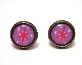 Twilight Sparkle Studs - Pink star Cutie Mark on light purple post earrings - SMALL 10mm - MLP FIM Geekery Geek Chic