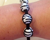 Zebra print Shambhala Bracelet, Animal Print, Adjustable, Black and White