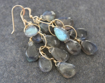 Smooth Labradorite Cluster Earrings,Statement earrings,gray earrings,gold cluster earrings,gift for her,delicate cluster earrings,under 100