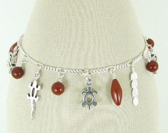 Southwestern Red Jasper and Sterling Silver Charm Bracelet