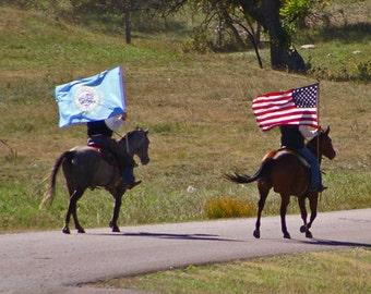 Bison Roundup Photo, Buffalo Roundup, Cowboys And Horses, Flag Carrier, Boys Room Decor, Childrens Room, Black Hills Print, South Dakota