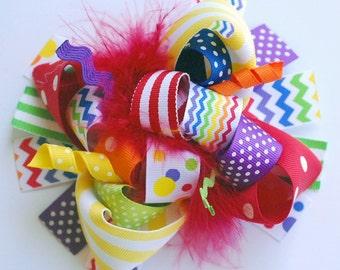 boutique FUNKY fun RAINBOW brights CHEVRON hair bow clip