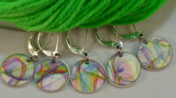 Silken RAINBOWS, locking style stitchmarkers for CROCHETERS or KNITTERS