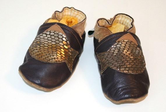 ooak recycled brown leather crib shoes soft baby shoes